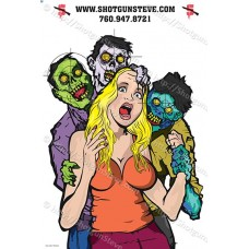 3 Zombie's & Blonde Victim, Package of 5 Targets